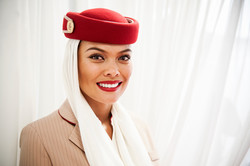 Stewardess in commercial photo shoot