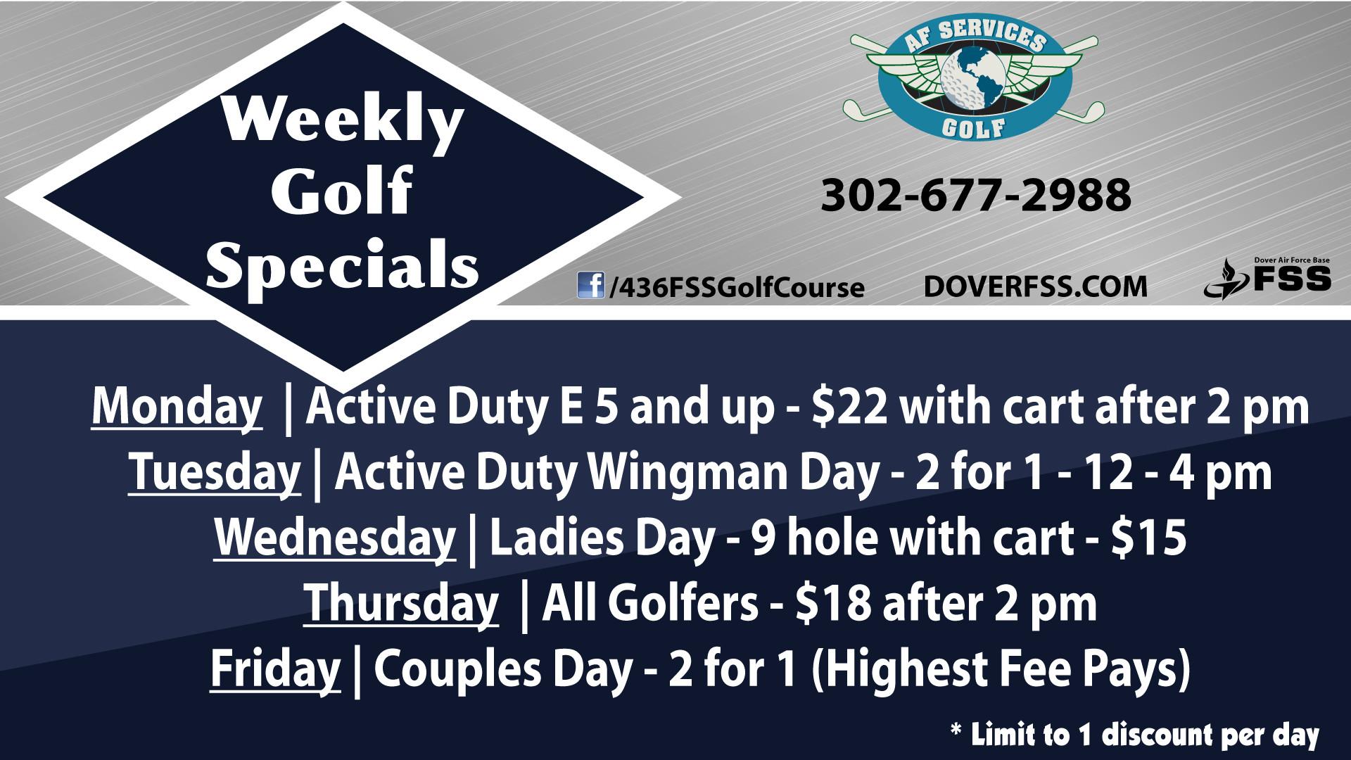 2021 Weekly Golf Specials