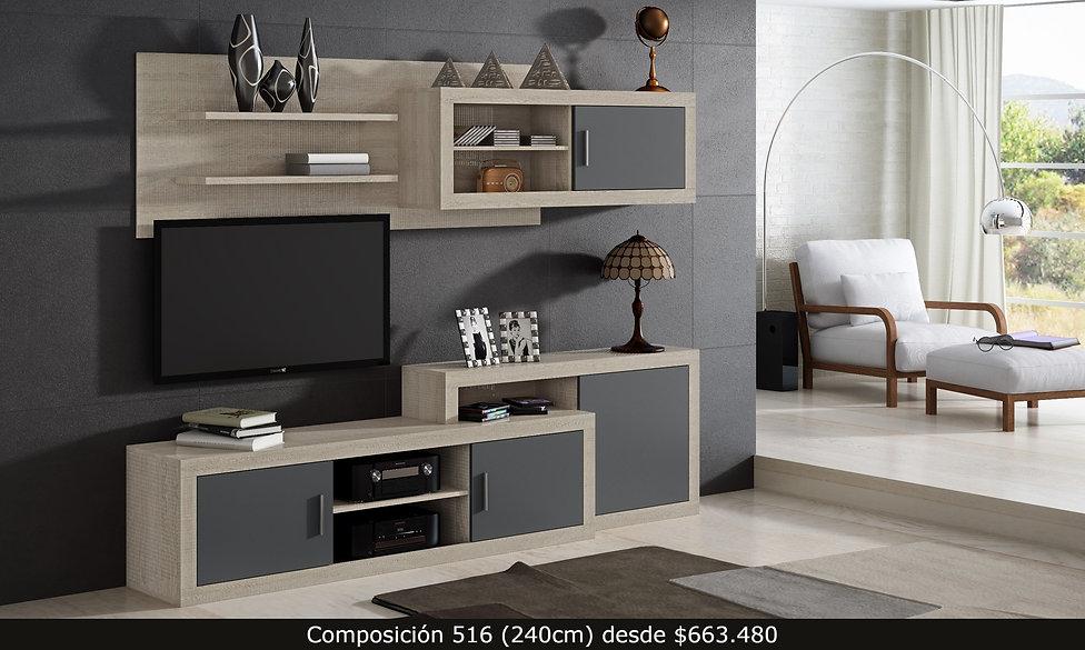 Composición living. Mueble de TV