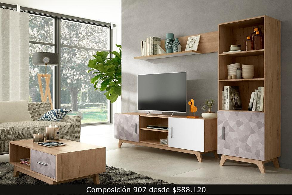 907-living mueble tv comedor aparador mesa librero repisa