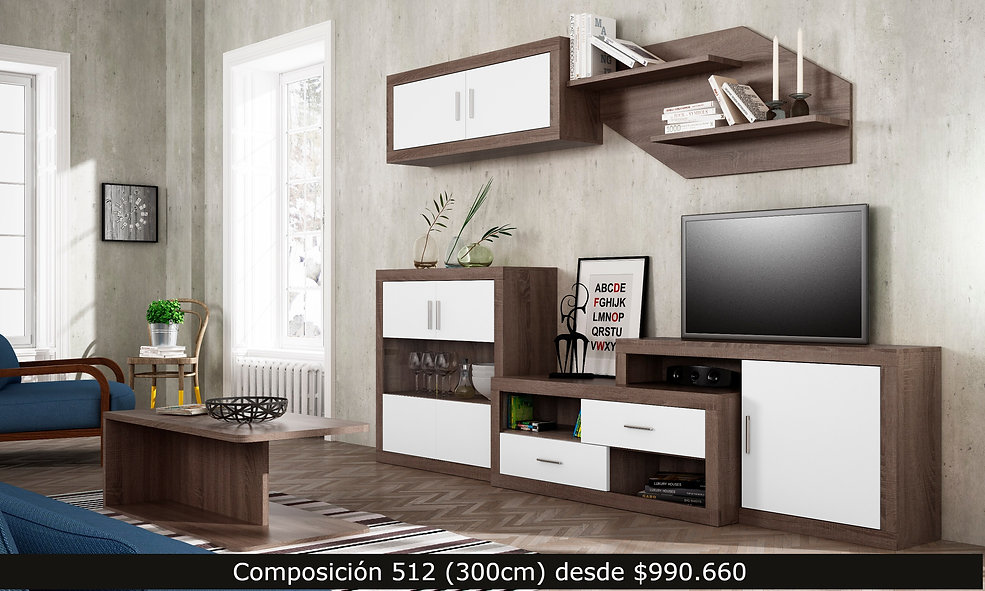 Composición living, mueble tv aparador,