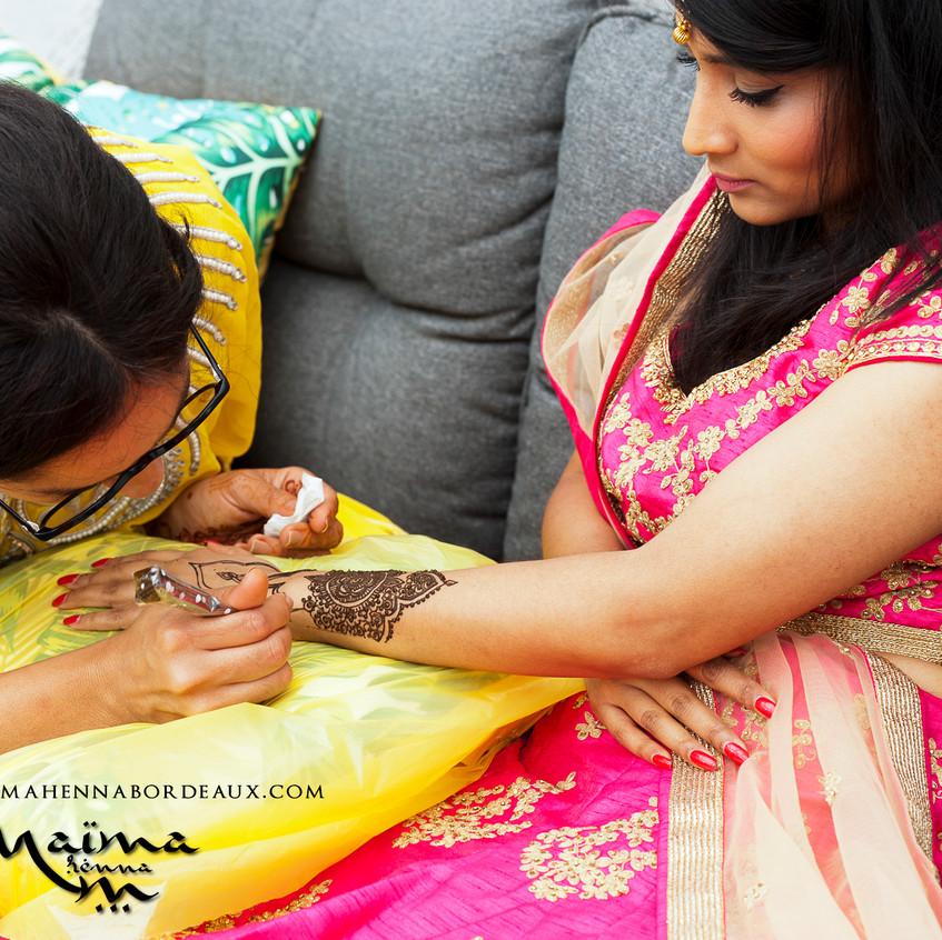 Bridal henna in progress