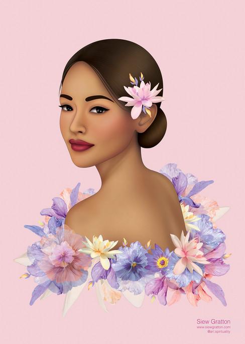 Purple Flower Blossom Beautiful Lady Gir