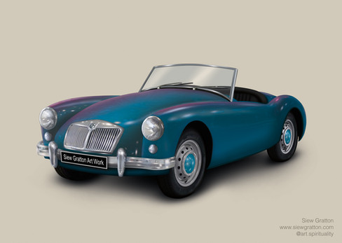 Vintage Classic MG Blue Car Artwork illu