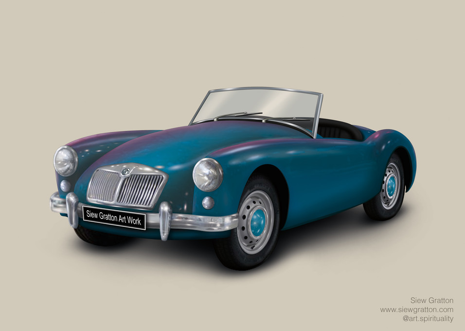 Vintage Classic MG Blue Car Artwork illu