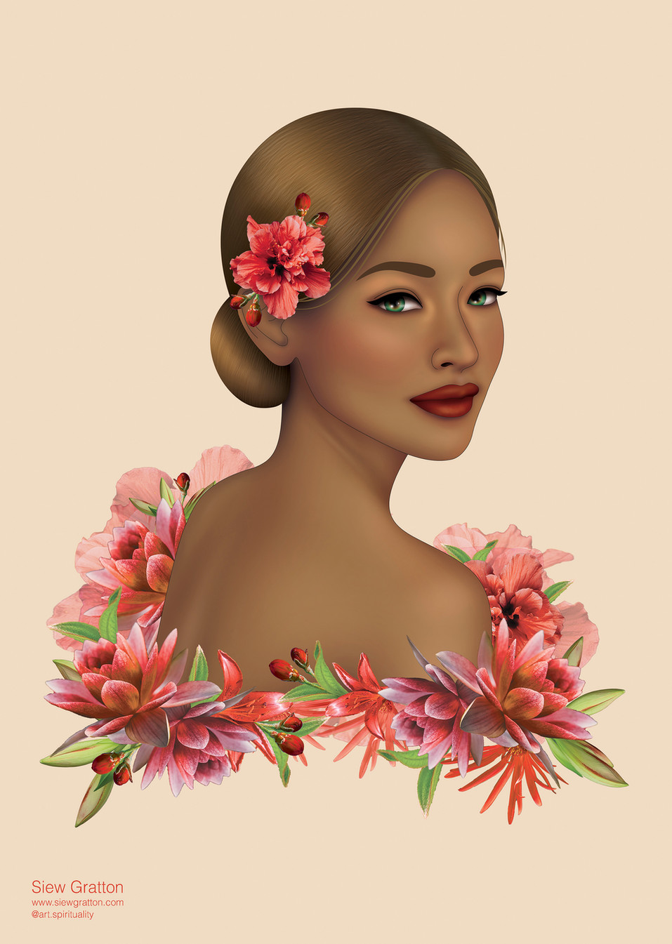 Red Flower Blossom Beautiful Lady Girl b