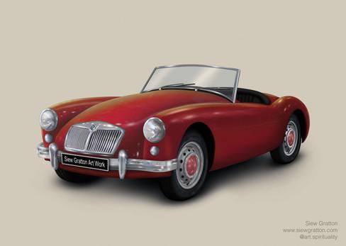 Vintage Classic MG Red Car Artwork illus