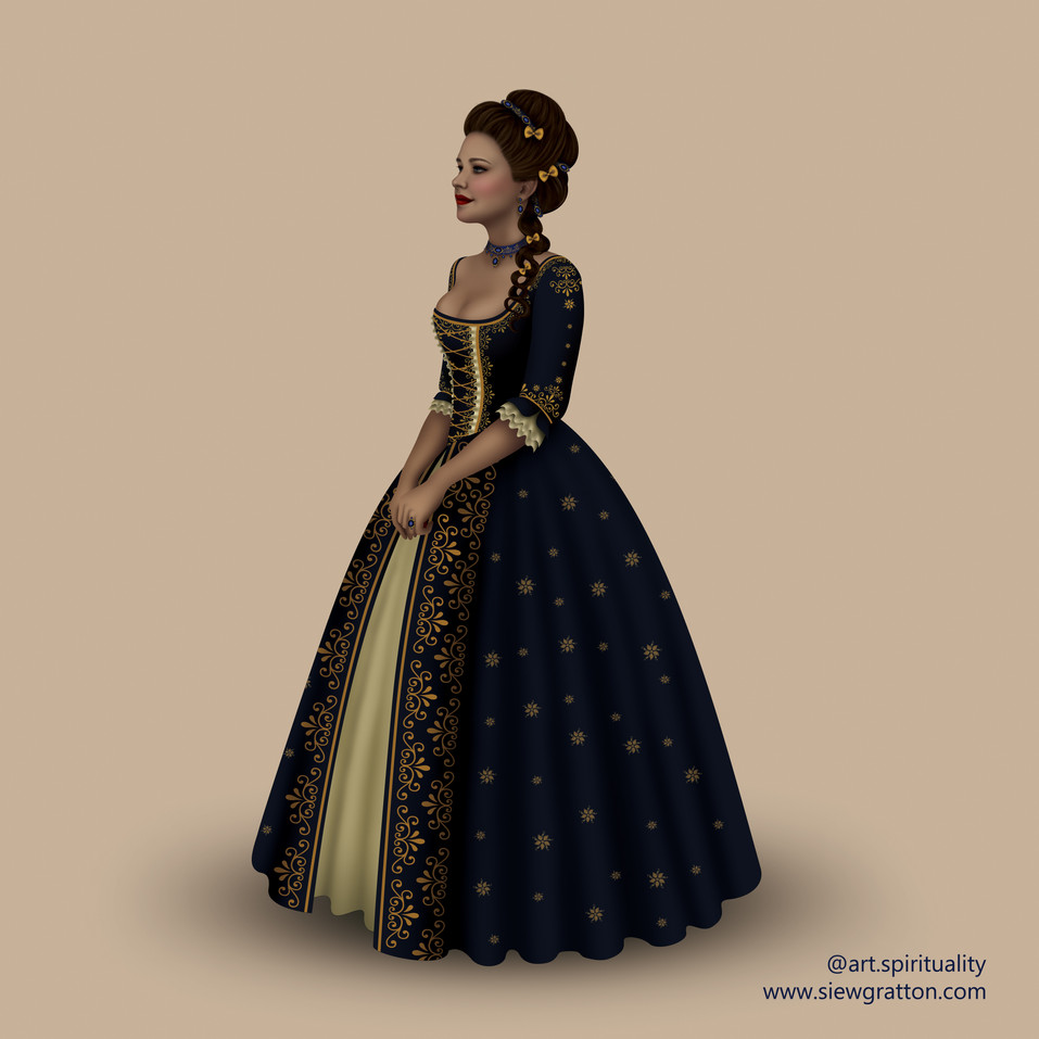 18th Century Fashion illustration by Sie