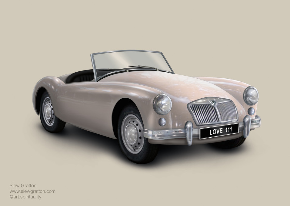 Vintage Classic White MG Car Artwork ill