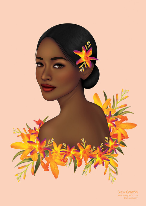 Orange Flower Blossom Beautiful Lady Gir