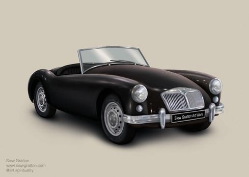 Vintage Classic MG Black Car Artwork ill