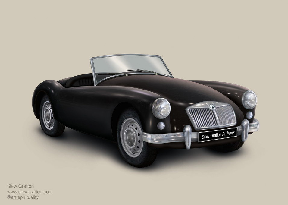 Vintage Classic MG Black Car Artwork ill