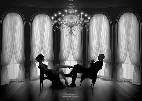 Ball Room Couple Black & White by Siew G