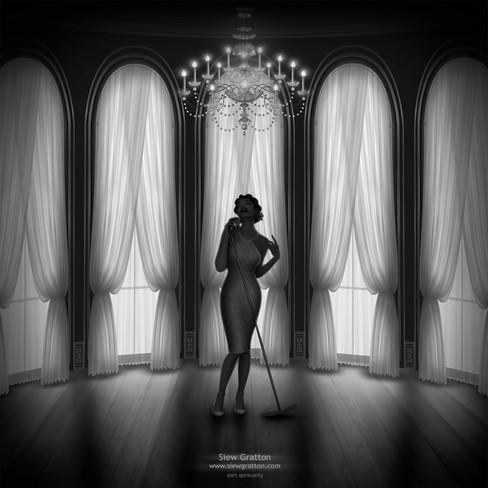 Ball Room Sensual Singer Black & White A