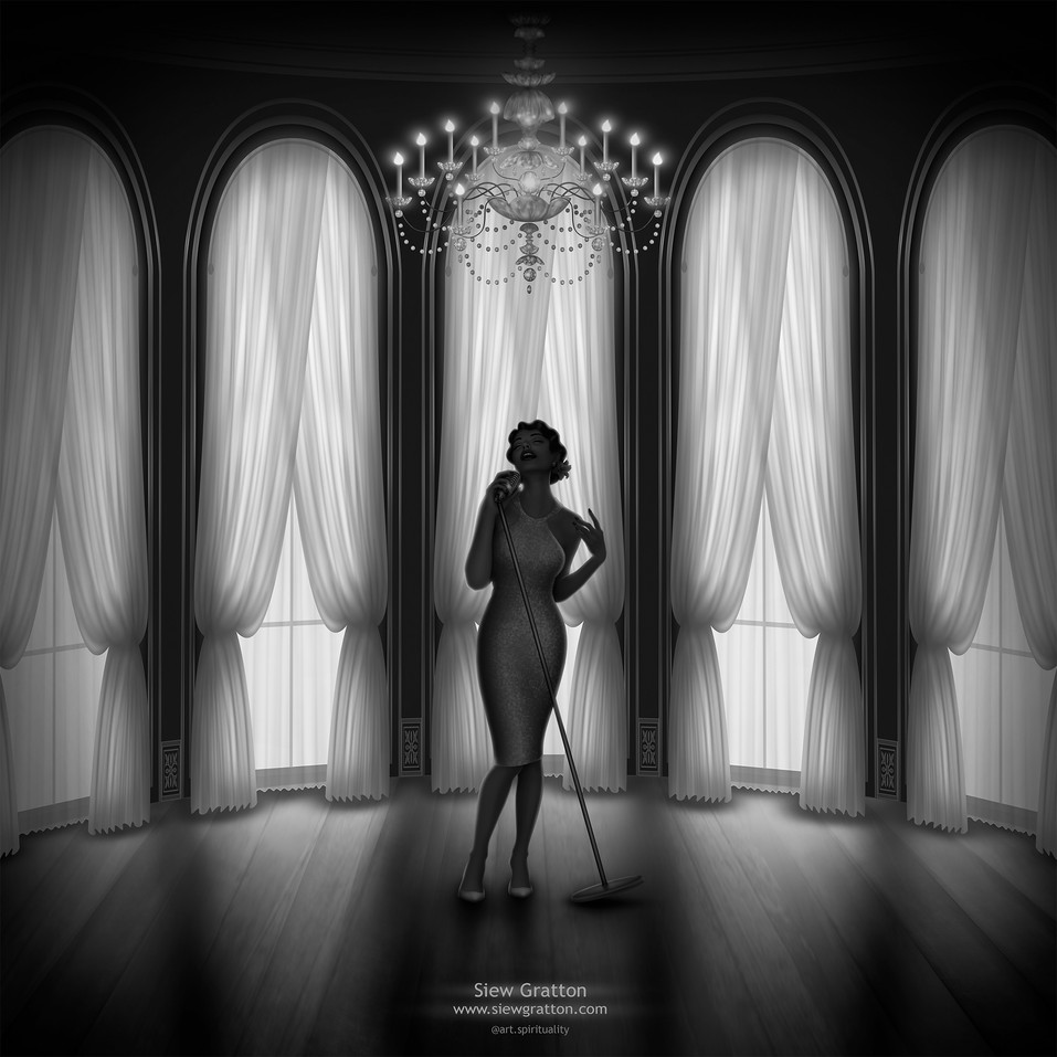 Ball Room Sensual Singer Black & White A