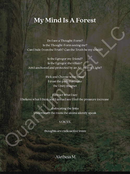 """My Mind Is A Forest Poem (18"""" x 24"""") Poster Size"""