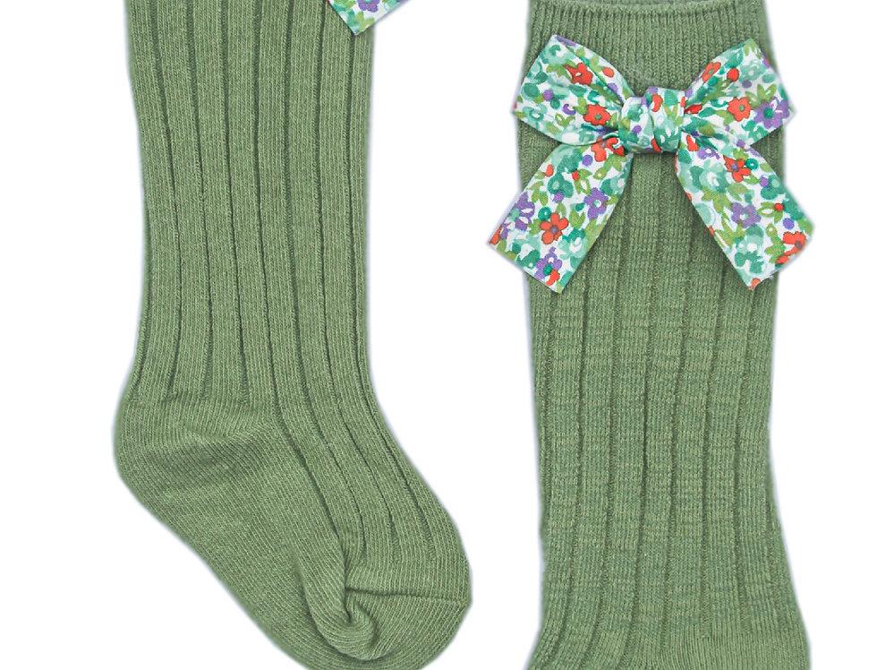 Green Floral Bow Socks