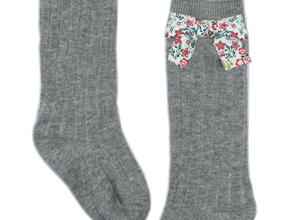 Grey Floral Bow Socks