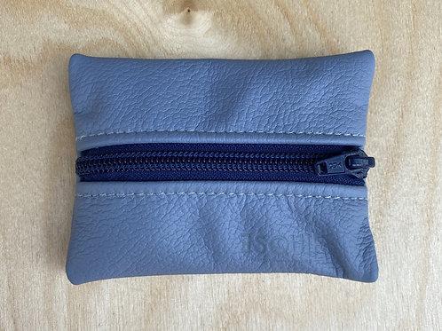 Porte-monnaie en cuir bleu aperçu fermé