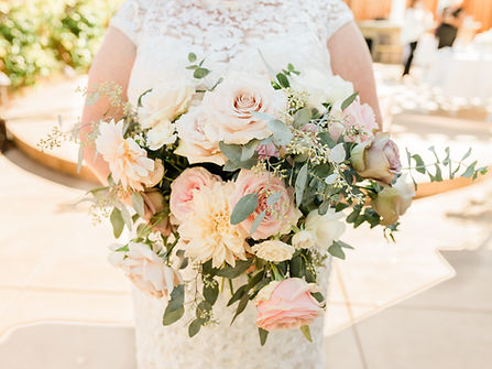 Bridal bouquet with pink roses and eucalyptus