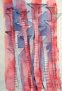 Pylons Marching 1 and 2, 2017  Acrylic and ink on paper