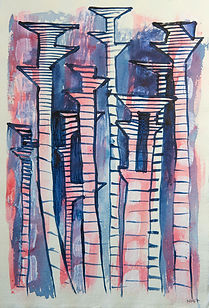 Pylons Marching , 2017  Acrylic andink on paper