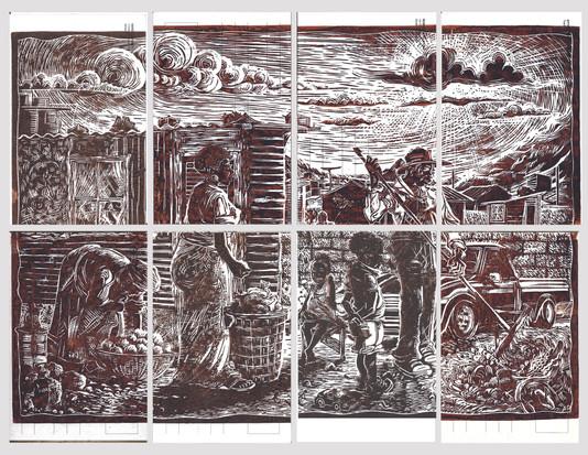"Petrus Amuthenu, ""Saturday Morning in Tura"", 2019, Lino cut print on postcards"