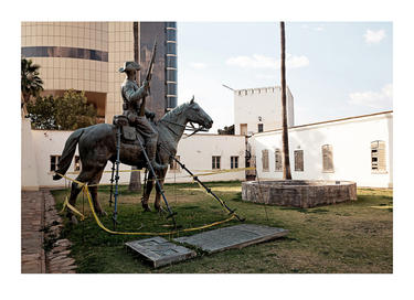 The Reiterdenkmal's new location in the courtyard of the Alte Feste. Windhoek, 16 August 2014