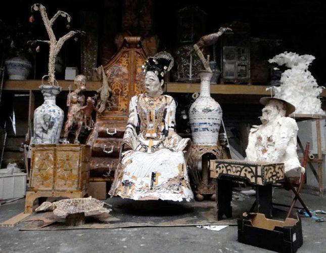 couzijn van leeuwen, studio, atelier, cardboard, karton, glue, polystyreen, paper, ceramics, keramiek