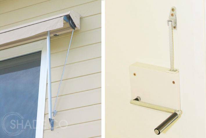Pivot arm awning with internal winch