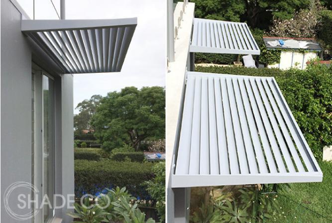 Custom powdercoated louvre awning | BASIX window awning | Privacy awning