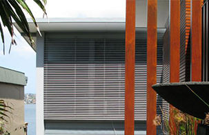 External venetian blinds over window, window shades, BASIX awnings, architectually designed awnings