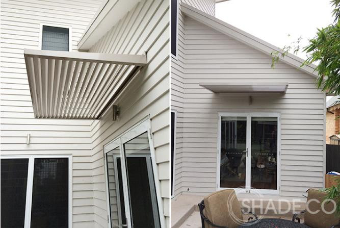 Custom made louvre awnings for windows and doors.