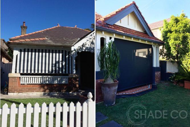 Black & White awning | Verandah blind | Outdoor blind | Federation blinds