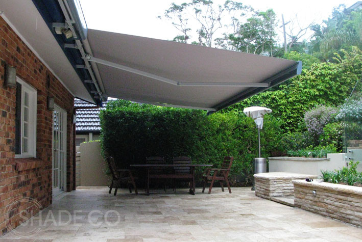 Folding arm awning by Shadeco