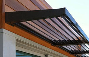 BASIX approved fixed louvre awning, fixed window awning, aluminium awning over door, louvre awning sydney