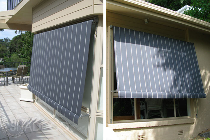 Automatic window awnings with striped fabric