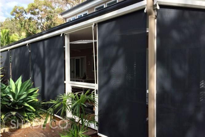 Motorised straight drop awnings | Motorised cafe blinds | Outdoor blinds | Window shades