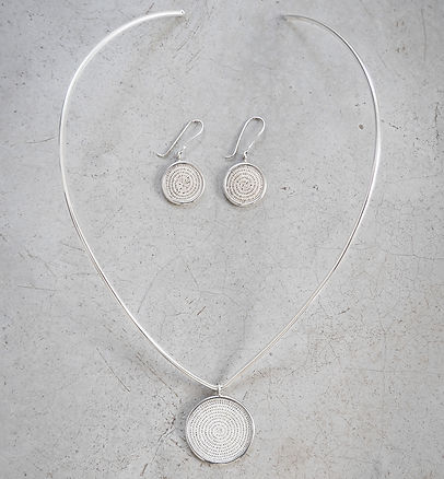 Sisal and sterling silver earrings and necklace jewelry