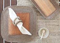 Sisal and wood tableware