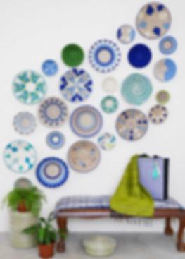 Blue and Green sisal basket wall display