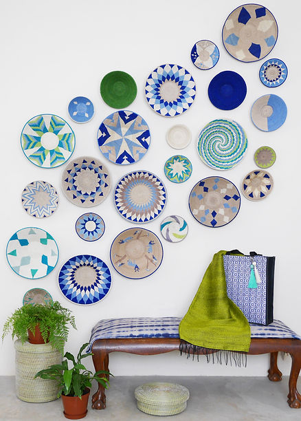 Blue and Green sisal basket wall display