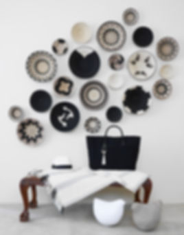 Black and white basket wall display