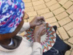 Weaving a sisal basket