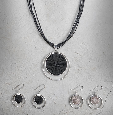 Eclipsing Collection featuring sisal and sterling silver.