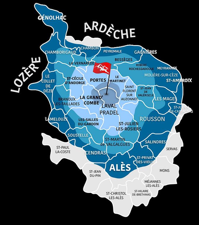 carte zones Alès