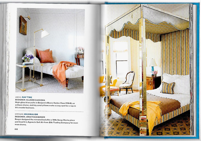 Jonathan Berger Interior Design custom bed with mirror finish and tufted headboard