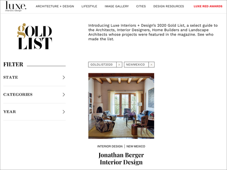 Luxe Magazine Gold List 2020 featuring Gold List 2020 winner Jonathan Berger
