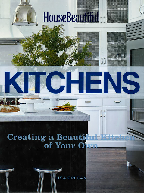 House Beautiful's Kitchen book features Jonathan Berger's use of mirrors in custom cabinets