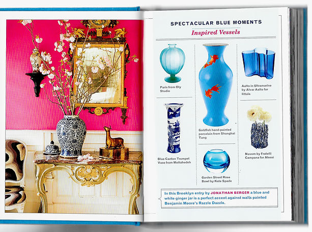 House Beautiful 350 Inspiring Ways to Decorate With Blue showcases Jonathan Berger's use of blue and white porcelain Chinese ginger jars